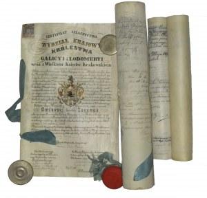 LWÓW. GALICJA. Zestaw trzech rękopiśmiennych certyfikatów szlachectwa rodziny Bielawskich herbu Zaremba; wszystkie dokumenty na ...