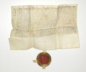 DZIERŻONIÓW. Rękopiśmienny dokument sporządzony na pergaminie 23 VI 1606. Jest odpisem dokumentu wys ...