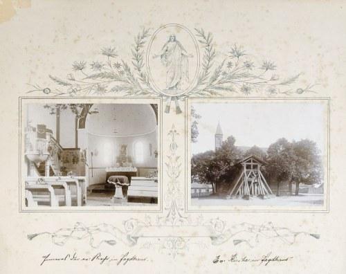 BUDY (niem. Jagdhaus), pow. złotowski. Kościół – 2 fot. w sepii, na ozdobnym kartonie: 1) wnętrze ko ...