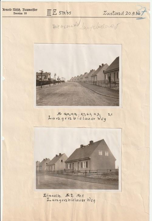 DZIERŻONIÓW. Zestaw 2 fotografii oraz 5 planów katastralnych z 1935 r., dotyczących budowy domów mie ...