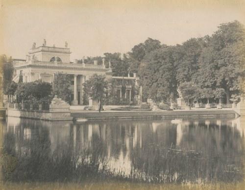 WARSZAWA. Łazienki – widok na pałac na wyspie; lata siedemdziesiąte XIX w.; wym. 265x195 mm, kartonu ...