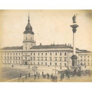 WARSZAWA. Widok na Zamek i Kolumnę Zygmunta. Anonim, lata siedemdziesiąte XIX w.; wym. 265x210 mm, k ...