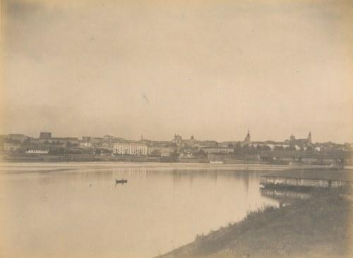 WARSZAWA. Widok na Warszawę od strony Pragi. Po prawej stronie przystań wiślana; lata siedemdziesiąt ...