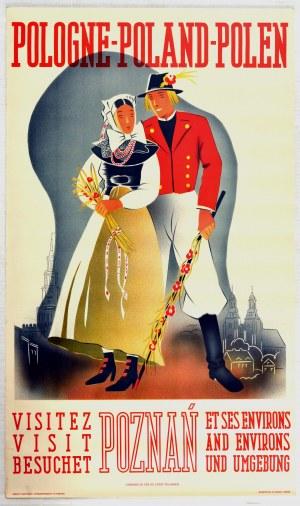 POZNAŃ. Plakat turystyczny reklamujący miasto w języku angielskim, francuskim i niemieckim, lata 193 ...