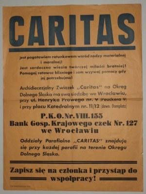 WROCŁAW. Plakat Caritasu wzywający do wstępowania do organizacji oraz składania darowizn na konto; D ...
