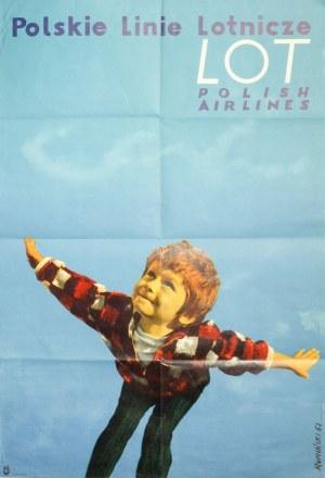 Polskie Linie Lotnicze LOT / POLISH AIRLINES. Plakat reklamowy; projekt: T. Rumiński, 1961; wyd.: WA ...