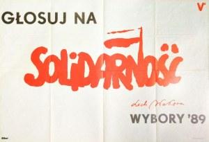 POLSKA. Plakat wyborczy Solidarności do tzw. sejmu kontraktowego, Głosuj na / Solidarność / Lech Wał ...