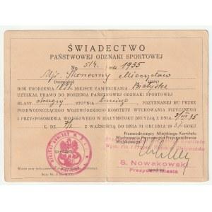 BIAŁYSTOK. Świadectwo Państwowej Odznaki Sportowej nr 514/1935 dla mjr Mieczysława Skoniecznego, Bia ...
