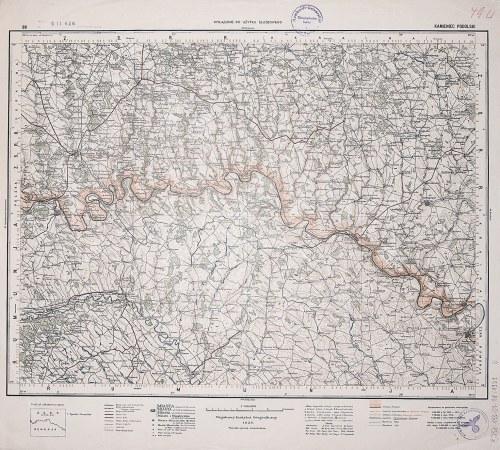 KAMIENIEC PODOLSKI. Wyd. 1929; wym.: 540x490 mm, podziałka 1:300000; stan bdb. Nieaktualna pieczęć w ...