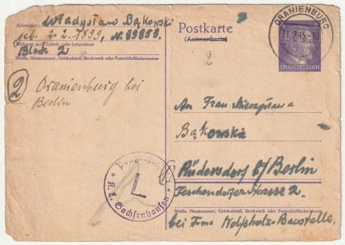Kartka pocztowa wysłana z obozu koncentracyjnego w Sachsenhausen przez więźnia Władysława Bąkowskieg ...