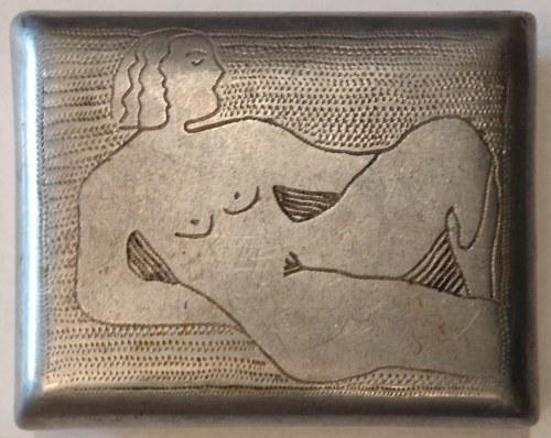 POZNAŃ. Papierośnica aluminiowa z wypunktowanym ręcznie napisem Posn (powinno być Posen) 1944 umiesz ...