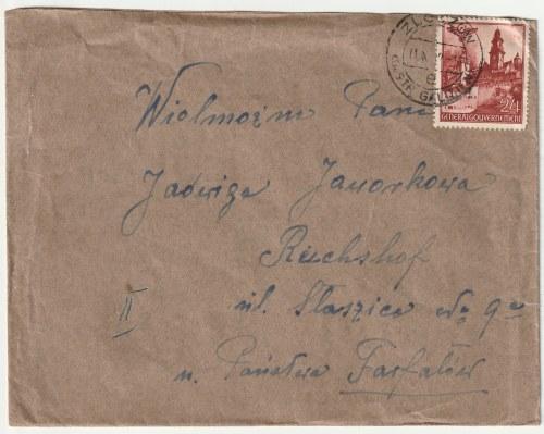 RZESZÓW, ZŁOCZÓW. Koperta zaadresowana ze Złoczowa do Reichshofu (Rzeszowa) wysłana w 1942 r., piecz ...