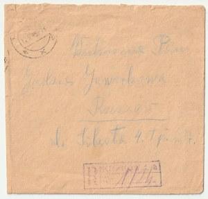 Koperta wysłana 15 V 1945 r. z Krakowa do Rzeszowa, dzienna pieczęć poczty w Krakowie, ostemplowany ...