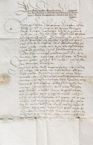 PRUSY KSIĄŻĘCE. JERZY FRYDERYK HOHENZOLLERN. List Jerzego Fryderyka, z 10 VI 1592, od 1578 r. opieku ...