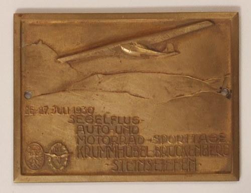 KOWARY. Mosiężna plakieta z okazji zawodów szybowcowych i rajdu motorów i samochodów 26-27 czerwca 1 ...