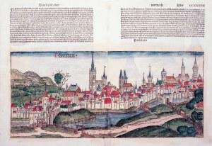 WROCŁAW. Widok miasta – pierwsze ikonograficzne przedstawienie Wrocławia; powyżej i na verso tekst w ...