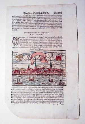 RYGA (łot. RĪGA). Panorama miasta; na verso, powyżej i poniżej, a także na sąsiedniej stronie tekst ...
