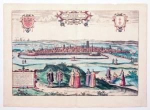 GDAŃSK. Panorama miasta ze wzgórza Grodzisko; na pierwszym planie sztafaż figuralny, w górze herby P ...