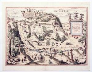 KALWARIA ZEBRZYDOWSKA. Widok sanktuarium; w oddali po lewej widoczny zamek w Lanckoronie; pod górną ...