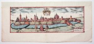 LEGNICA. Panorama miasta, pierwotnie zamieszczona na jednym arkuszu z panoramą Nysy; górny margines ...