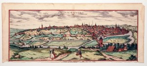 POITIERS. Panorama miasta, pierwotnie na wspólnym arkuszu z widokiem na dolmen po miastem i panoramą ...