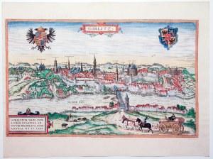 ZGORZELEC/GÖRLITZ. Panorama miasta z prawego brzegu Nysy; w górnych narożnikach, na tle nieba 2 herb ...