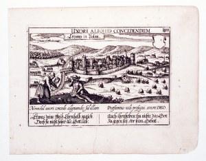 KROSNO. Panorama miasta; nad górną ramką: UXORI ALIQUID CONCEDENDUM; naprawione rozdarcie, passe-par ...