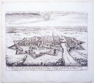 ELBLĄG. Perspektywiczny plan miasta i jego obwarowań; w dole legenda; miedz. kolor., lekko zażółcone ...