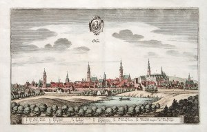 OLEŚNICA. Panorama miasta; w górze herb miasta; miedz. kolor., st. bdb.; wym. płyty: ok. 325x202 mm; ...