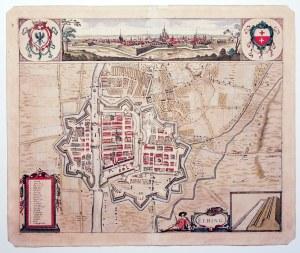 ELBLĄG. Plan miasta i najbliższej okolicy, najprawdopodobniej autorstwa Jacoba Hoffmanna; w górze pa ...