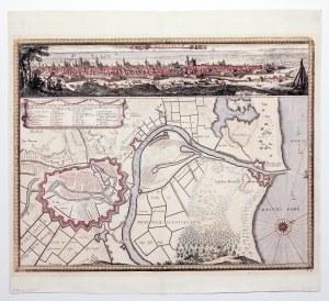GDAŃSK. Plan miasta z mapą najbliższej okolicy, ujściem Wisły i Twierdzą Wisłoujście; w górnej częśc ...