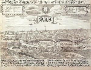 GDAŃSK. Panorama miasta; ryt. Michael Wening, wyd. Paul Fürst, ok. 1670; w górnych narożnikach kartu ...