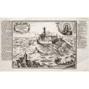 CZĘSTOCHOWA. Widok klasztoru na Jasnej Górze ostrzeliwanego przez wojska szwedzkie; ryt. i wyd. G. B ...