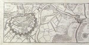 GDAŃSK. Plan Gdańska i mapa najbliższej okolicy z ujściem Wisły; ryt. i wyd. G. Bodenehr II, pochodz ...