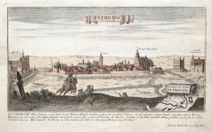 PIOTRKÓW TRYBUNALSKI. Panorama miasta; wyd. G. Bodenehr, Augsburg, ok. 1720; na dolnym marginesie op ...