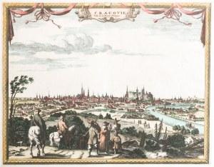 KRAKÓW. Panorama miasta ze sztafażem figuralnym na pierwszym planie; pochodzi z: La Galerie agréable ...