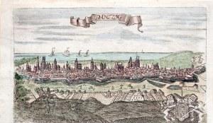 GDAŃSK. Panorama miasta; rys. F.B. Werner, ok. 1735; miedz. kolor., st. bdb.; wym.: 152x92 mm; tyt. ...