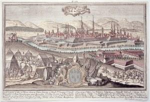 NYSA. Panorama miasta, na pierwszym planie herb miasta pod mitrą, dalej obóz wojskowy; ryt. J.D. Nes ...