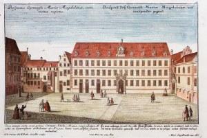 WROCŁAW. Gimnazjum św. Marii Magdaleny; ryt. J.M. Steidlin, rys. F.B. Werner, pochodzi z albumu Pros ...