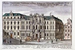 WROCŁAW. Pałac Hatzfeldtów – gmach barokowy, zniszczony podczas bombardowania miasta w 1760 r.; ryt. ...