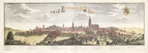 ŚWIDNICA. Rozległa panorama miasta z zaznaczonymi ważniejszymi budynkami; według rys. F.B. Wernera, ...