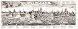 WROCŁAW. Rozległa panorama miasta z zaznaczonymi ważniejszymi budynkami; ryt. Johann Jakob Steltzer ...