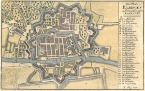 ELBLĄG. Plan miasta; anonim, 1734; zaznaczono linię fortyfikacji i tereny zadrzewione (co miało znac ...