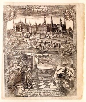 GŁOGÓWEK. Panorama miasta, poniżej postacie alegoryczne i herb; pochodzi z: Zittauisches Tagebuch (d ...