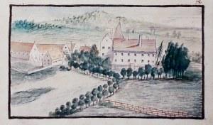 KAMIENNA GÓRA (woj. dolnośląskie, pow. kamiennogórski). Folwark; anonim, 1760; akwarela, passe-parto ...