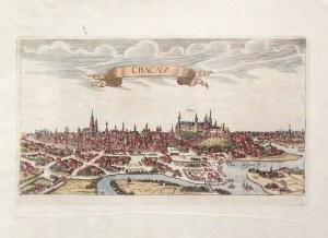 KRAKÓW. Panorama miasta; anonim, ok. 1700; miedz. kolor., filigran, st. bdb., złożenie atlasowe, na ...
