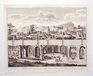 WIELICZKA. Widok miasta i okolicy oraz przekrój wnętrza kopalni soli; ryt. Benard, pochodzi z: Dider ...