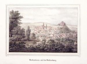 BOLKÓW. Panorama miasta z zamkiem; wym.: 180x119 mm; Bolkenhain mit der Bolkoburg; ...