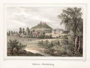 GRODZIEC. Widok na zamek i pałac; wym.: 184x120 mm; Schloss Gröditzberg; ...