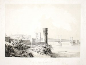 MALBORK. Most na Nogacie, w głębi zamek; rys. i lit. Julius Greth, druk. bracia Delius w Berlinie, w ...